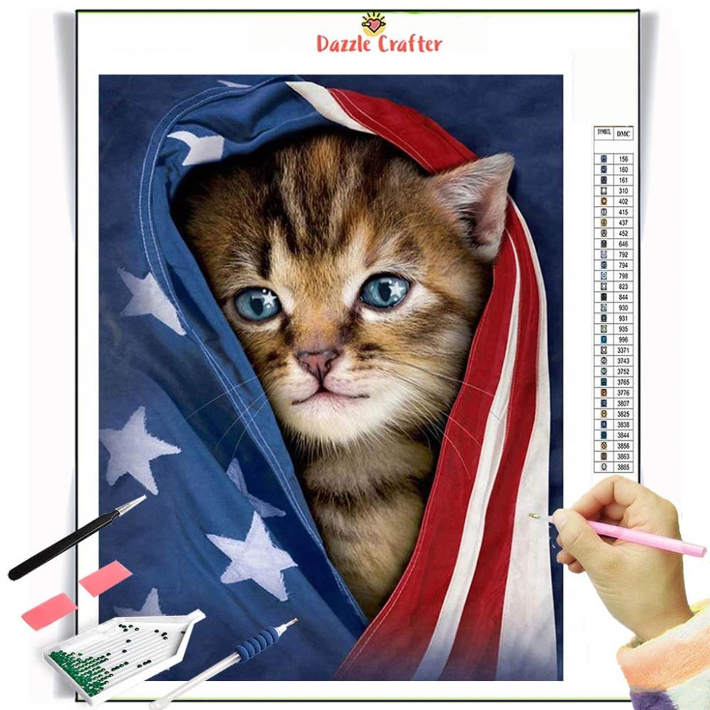 My Patriot Kitten Diamond Painting Kit In 2020 Animal Tshirt Cat Tshirt Cat Shirts