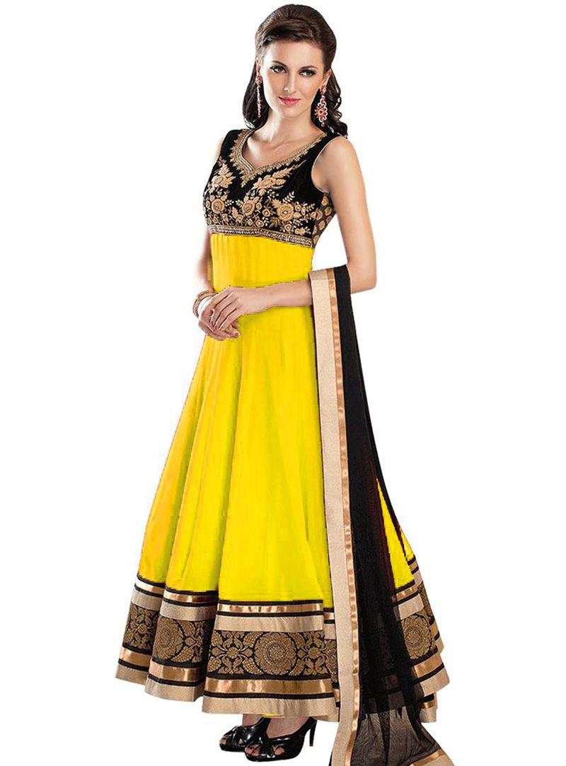 Yellow Georgette Long Anarkali Suit 106223