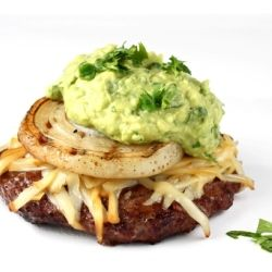 Grilled beef burgers with smoked gruyere, onion slices, avocado, and cilantro