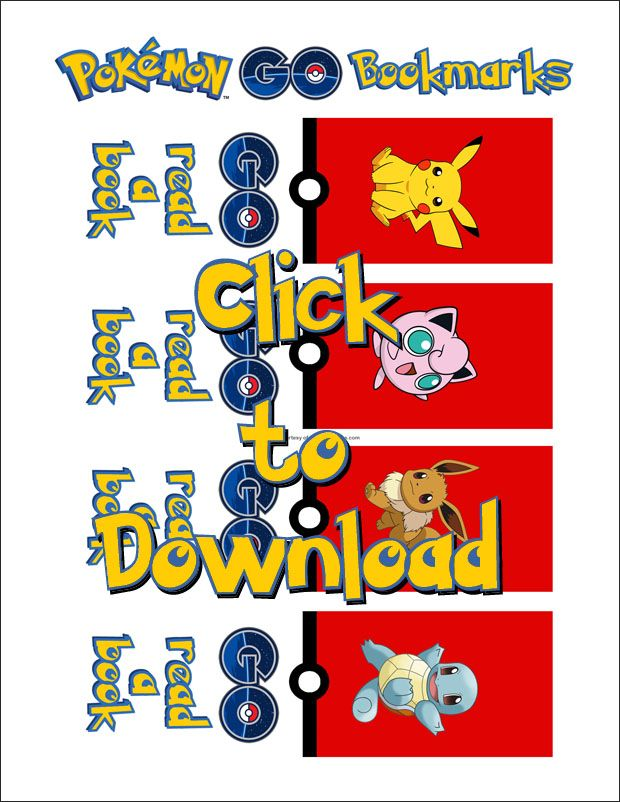 Pokemon Go Lunch Bookmark Printable Download Me Pinterest