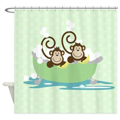 Silly Monkeys In Tub Shower Curtain By Jess Kids Shower Curtain