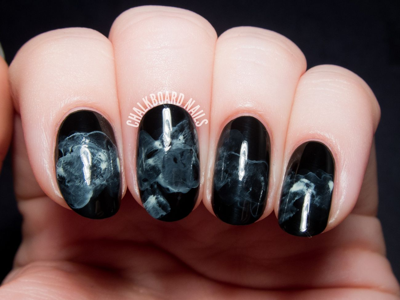 Midnight Smoke Nail Art Tutorial By Chalkboardnails