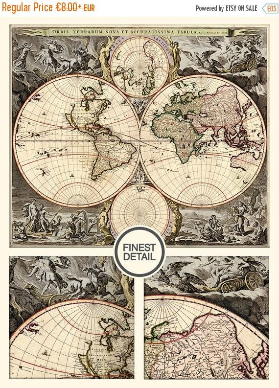 HUGE Old World Map Print Archival Quality Fine Art Print LARGE - Large wall maps for sale