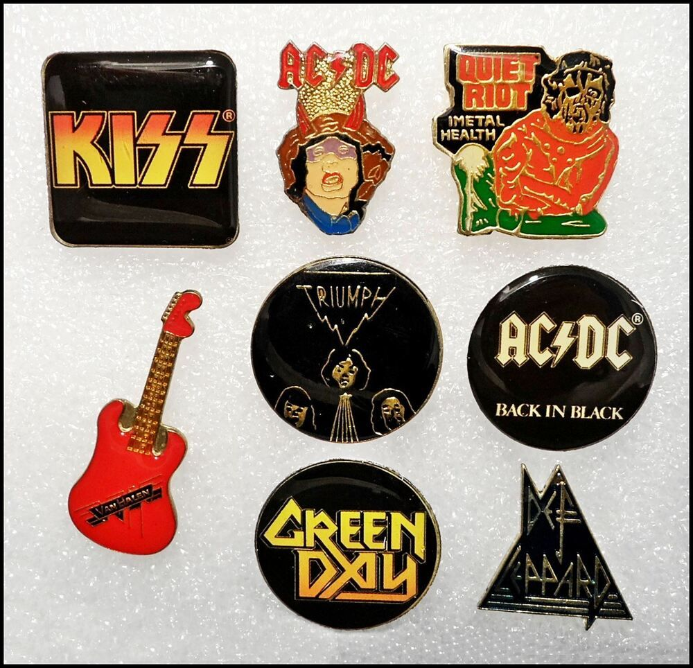 Ebay Sponsored Lot Of 8 Hard Classic Rock Lapel Pins Badges Ac Dc