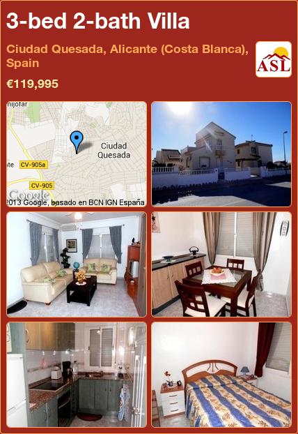 3-bed 2-bath Villa in Ciudad Quesada, Alicante (Costa Blanca), Spain ►€119,995 #PropertyForSaleInSpain