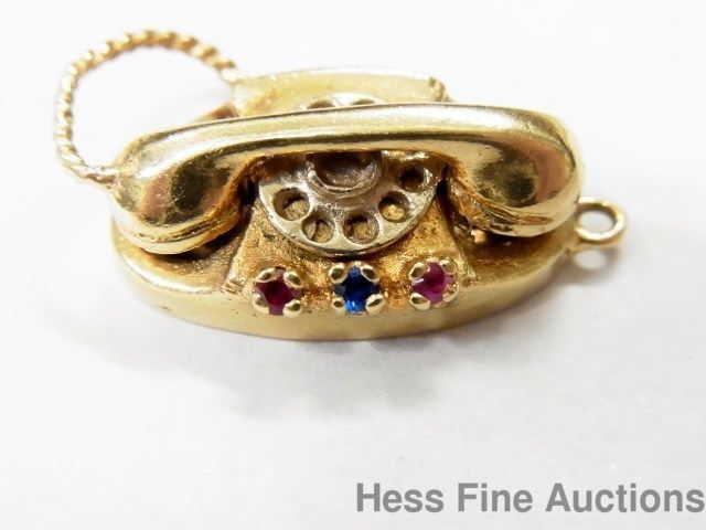14K Retro Sapphire Ruby Rotary Dial Telephone CharmPendant Yellow Gold