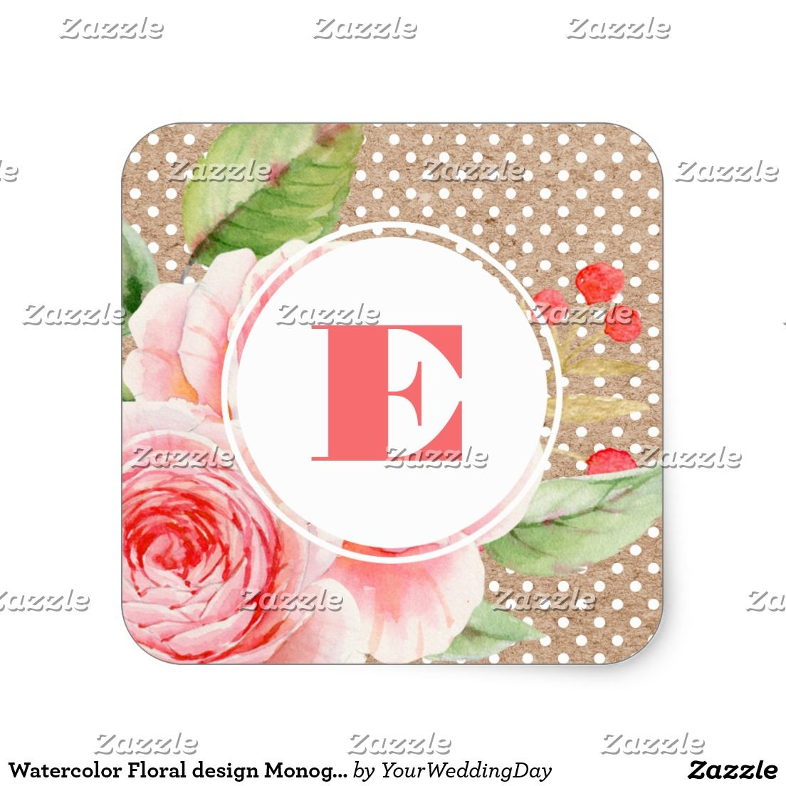 Watercolor Floral Painting and White Polka Dot Pattern with Kraft ...