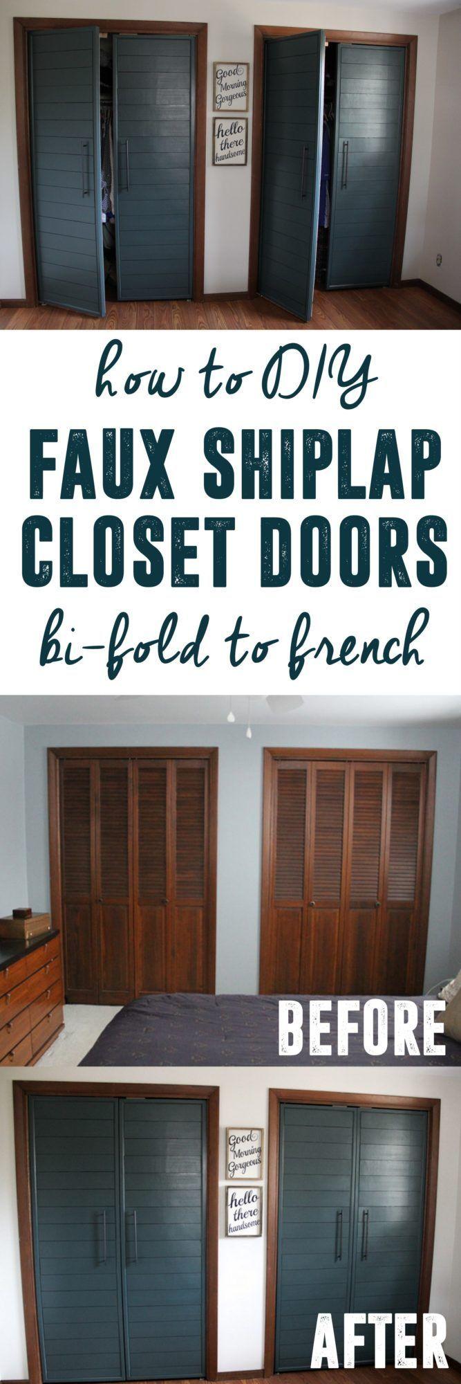 Bi-fold to Faux Shiplap French Closet Doors | Diy closet ...