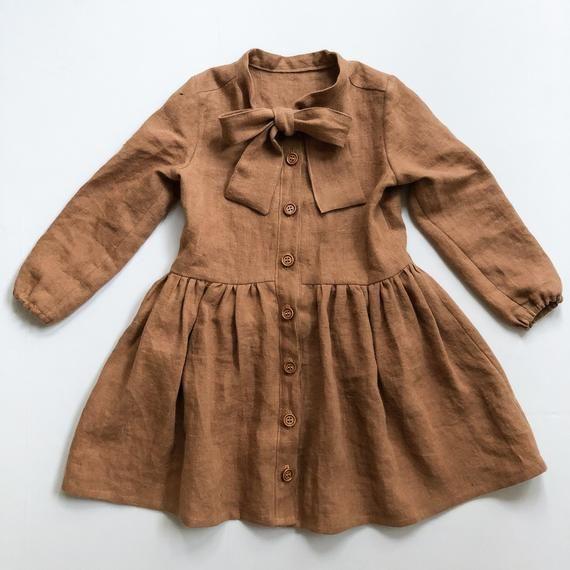 Girls Bow Tie Neck Shirt Dress, Toddler Shirt Dress, Long Sleeve Linen Dress, Baby Girl Linen Dress, Kids Bow Tie Dress, Brown, Terracotta