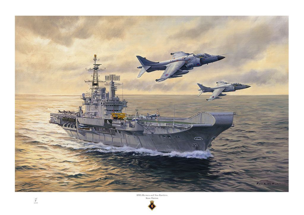 Ross Watton Ship Paintings HMS Hermes and Sea Harriers