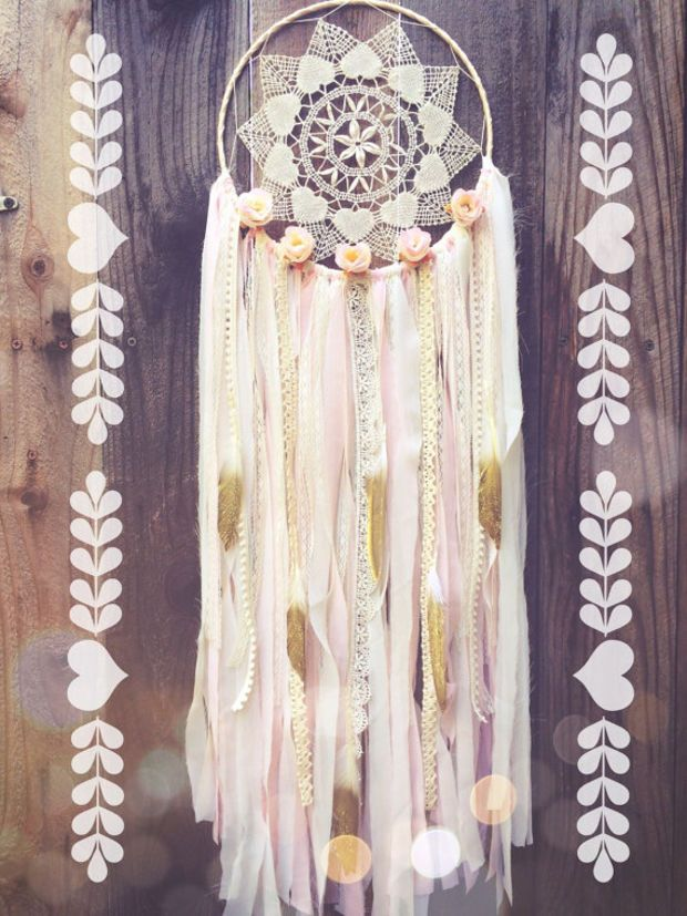 Floral Light Pink, Cream, & Gold Shabby Chic Boho Gypsy Glitter Feather Lace Heart Crochet Doily Dreamcatcher // Nursery Decor // Home Decor