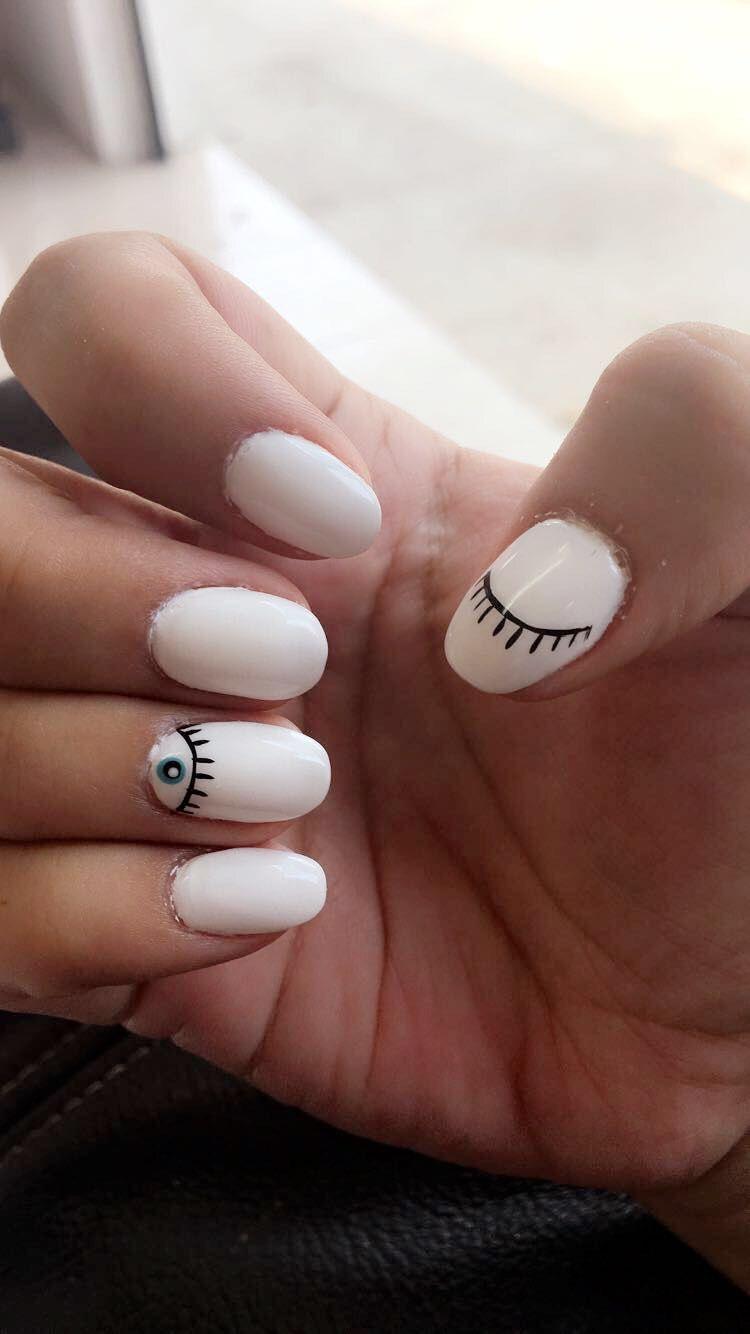 Evil Eye White Nails Design Manicura De Uñas Uñas