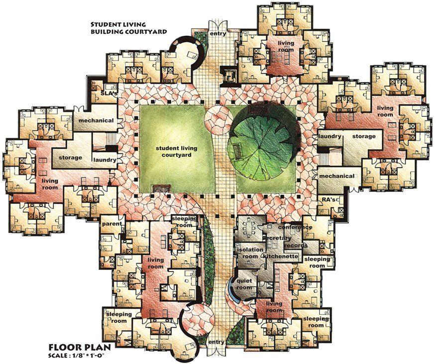 Dormitory Floor Plan | Floor plan | School floor plan, Boarding