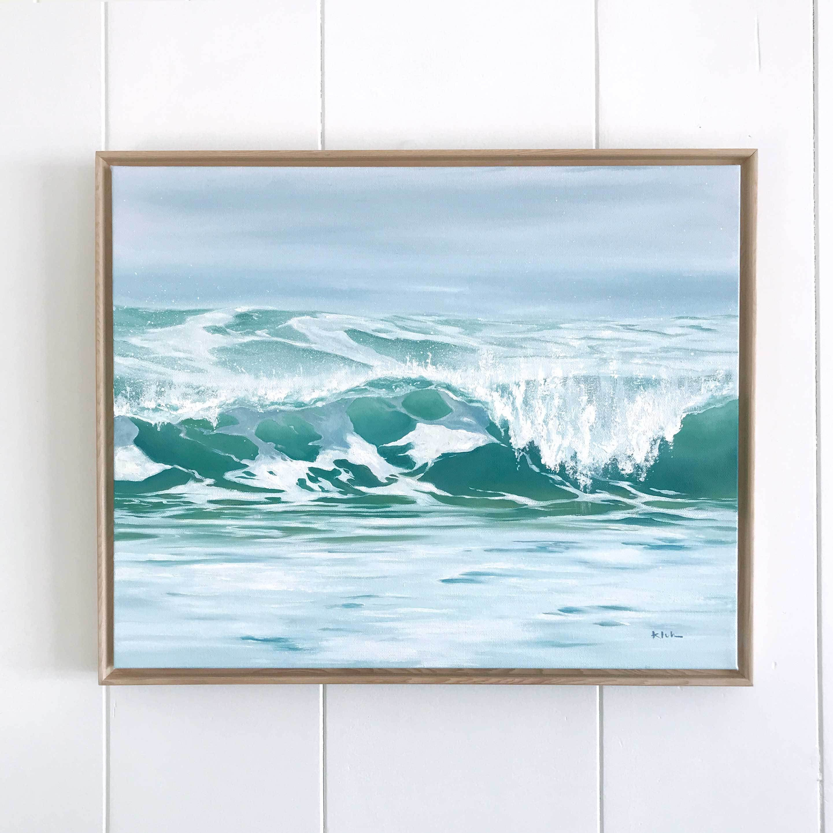 Beach Art Canvas With Natural Wood Floating Frame Original Oil Painting Of Breaking Waves Surf Art In 2020 Beach Canvas Art Surf Art Waves