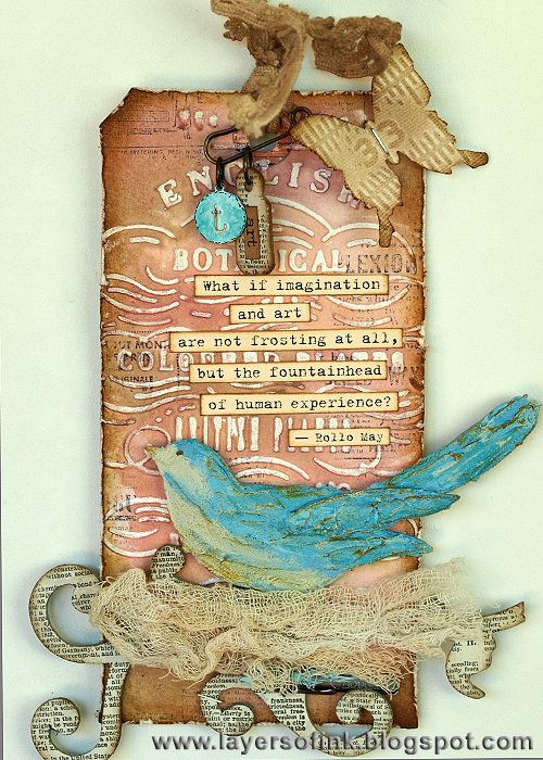 Layers of ink: Thank You Tammy Blog Hop, a textured tag, with dry embossing, wax resist,Distress Stain and paint, texture paste bird, and Sizzix dies.