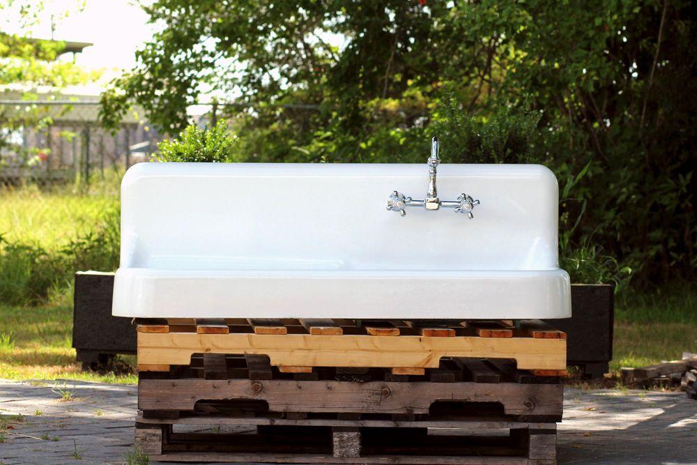 "Large 50"" Refinished 1929 Farm Sink Single Drainboard"