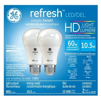 Ge High Definition 2 Pack 60 W Equivalent Dimmable