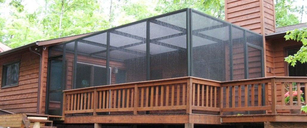 Bronze Screen Porch Enclosure With Flat Roofline And Removeable Roof Panels Brainerd Mn Porch Enclosures Screen Porch Panels Screened Porch