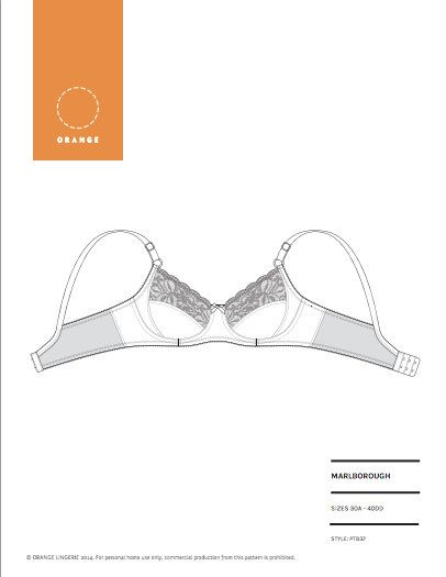Instant Download PDF lingerie sewing pattern for an underwire bra ...