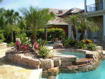 Tropical Pool Landscaping | South Florida Landscaping Ideas | Pool Landscaping, Garden Pool Design, Backyard Pool Landscaping