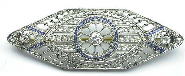 Edwardian Platinum Diamond Sapphire Pin | New York Estate Jewelry | Israel Rose