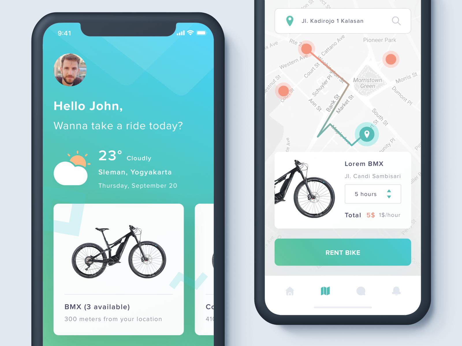 Apps Sharing Bike Exploration Дизайн интерфейса