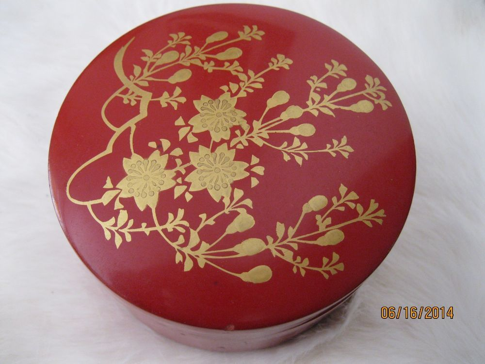 Japanese Red Lacquerware Coaster Set Hand Painted 6 with Round Box ~*~*~* #SeeLastPicture