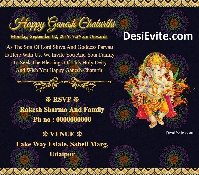 Ganesh Chaturthi Invitation Card And Video 2020 Ganpati Invitation Card Invitation Cards Invitations