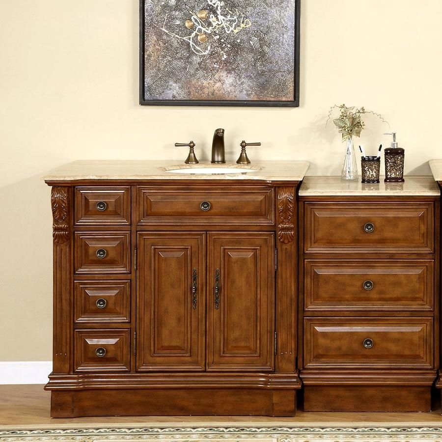Silkroad Exclusive 58 In Walnut Single Sink Bathroom Vanity With