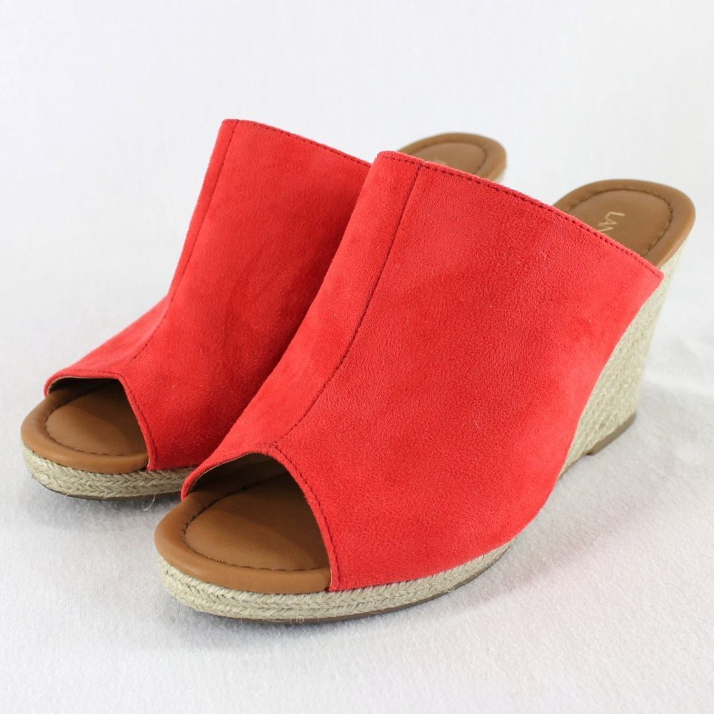 82982f2160a Lane Bryant Espadrille Wedge Sandals Sz 11W Red Slip On Jute Wrapped ...