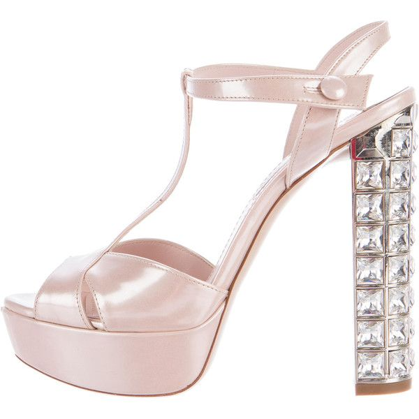 e1fd43132197 Pre-owned Miu Miu Patent Leather Jeweled Sandals (519 810 LBP) ❤ liked on  Polyvore featuring shoes and sandals