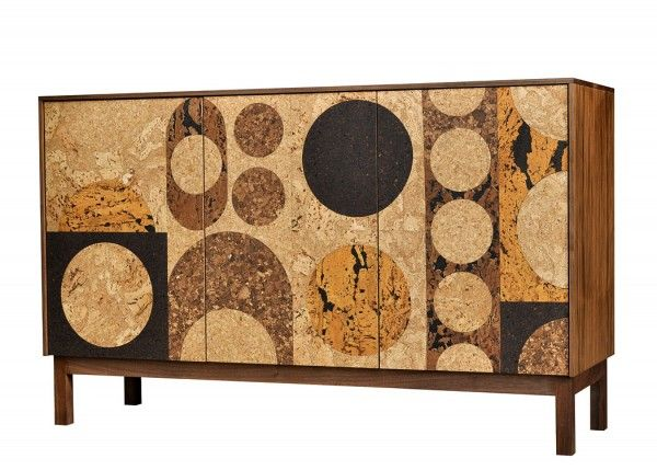Cork Mosaic Circles Sideboard by Iannone Design