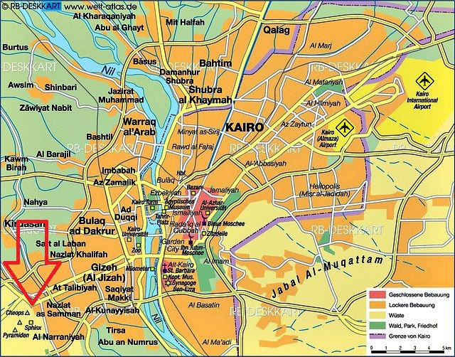 A useful map of present day Cairo showing the locations of Giza