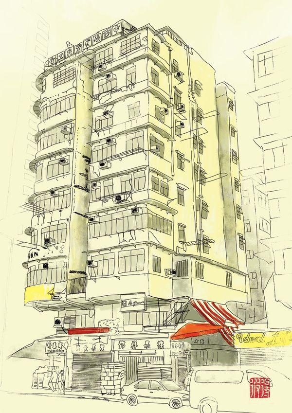 Hong Kong Illustrations Urban Sketching Graphic Design