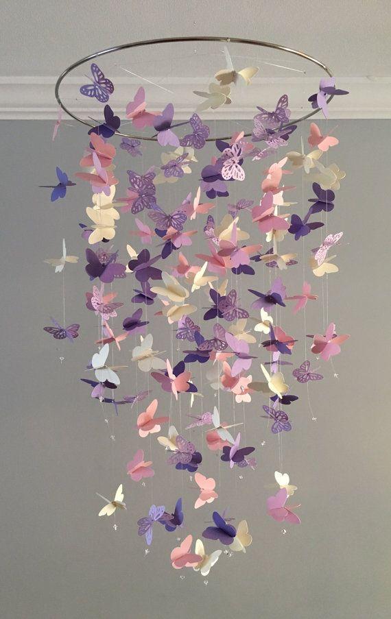 Schmetterling Kronleuchter Mobile, in lila und rosa-meist solide Schmetterlinge Mädchen Zimmer mobile, Kindergarten mobile, Baby Mädchen mobile, Baby mobile #girlrooms