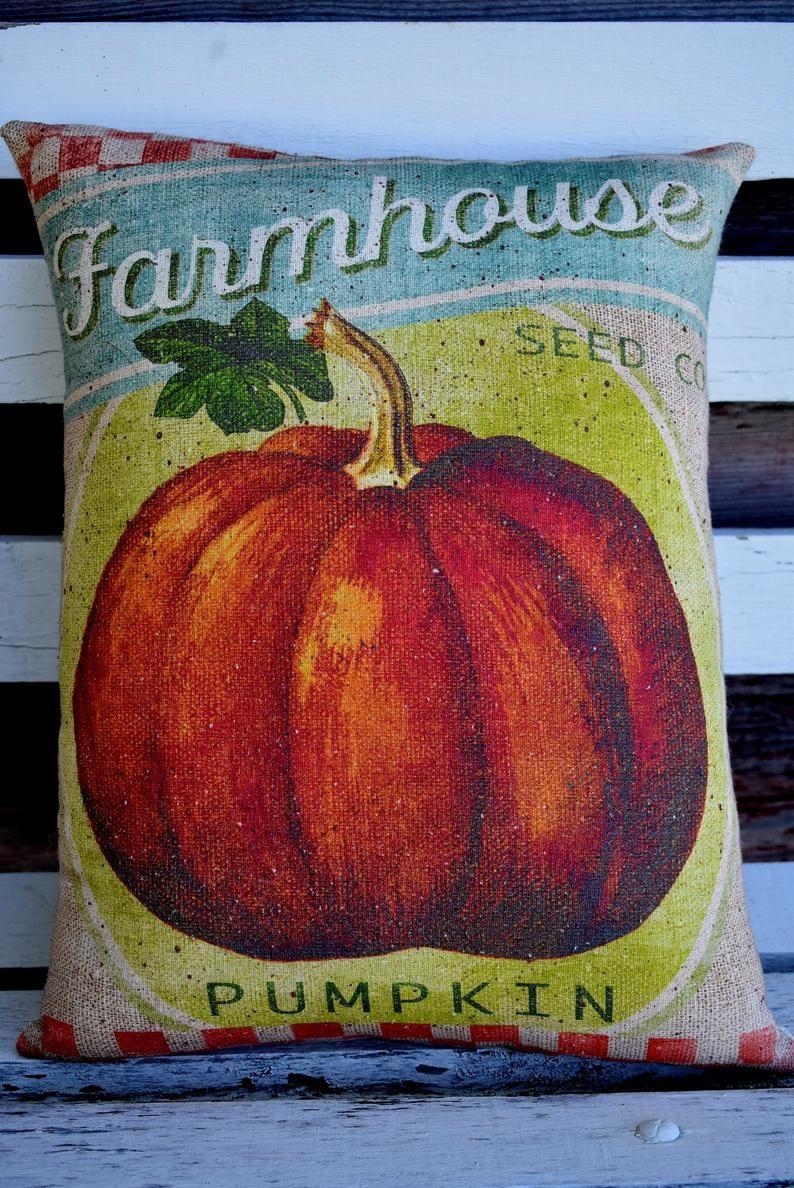 Farm Farmhouse Fall sign pillow pumpkin seed harvest porch