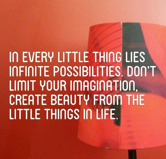 In every little thing lies infinite possibilities. dont