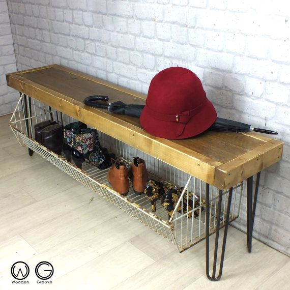 VINTAGE INDUSTRIAL HALLWAY SHOE STORAGE RACK/BENCH WITH HAIRPIN LEGS A  Superb Vintage Industrial Storage