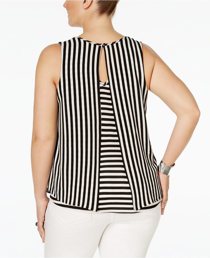 Monteau Plus Size Sleeveless Striped Blouse Tops Plus Sizes