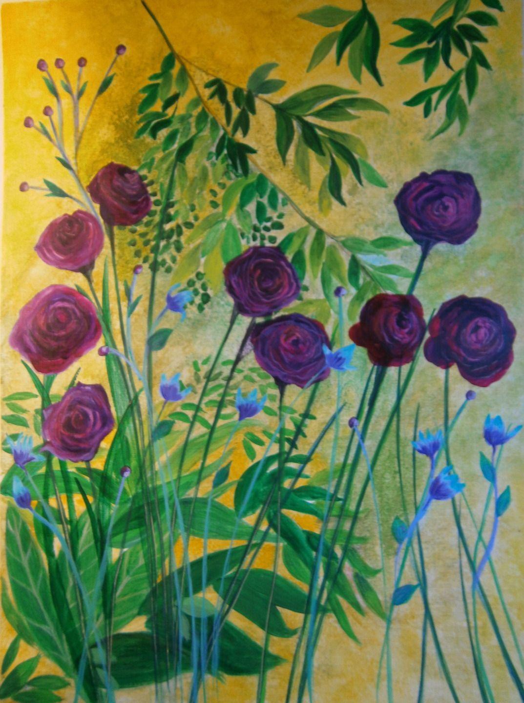 """Peinture nature florale renoncules @Lumeline-BLL """"Secret fleuri"""" : Peintures par lumeline-bll"""