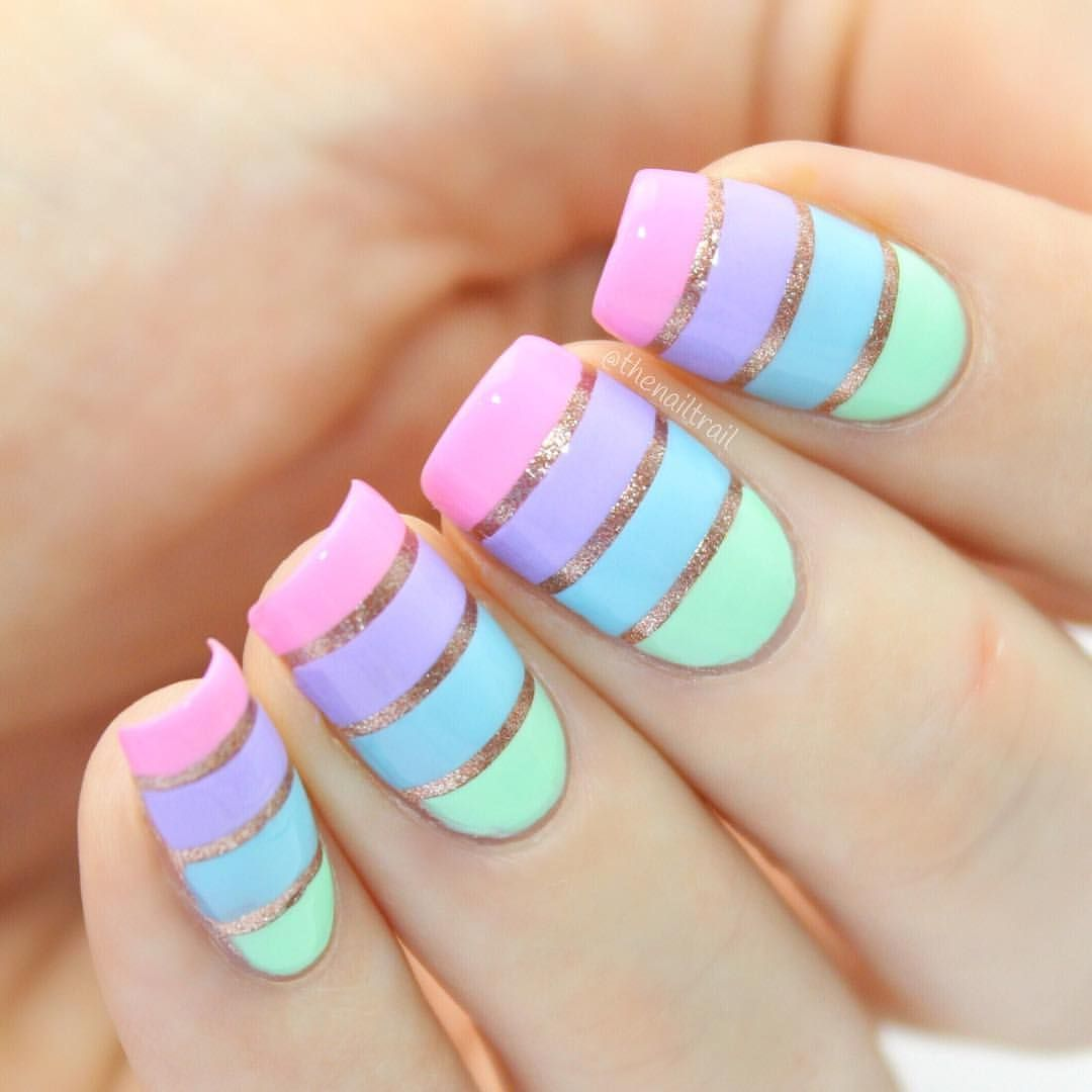 """Hannah Weir on Instagram: """"Rose gold & rainbow pastel colour block nails! So in love with this look. Full tutorial will be going up on my channel later today! 💗…"""" – Peinados facile"""