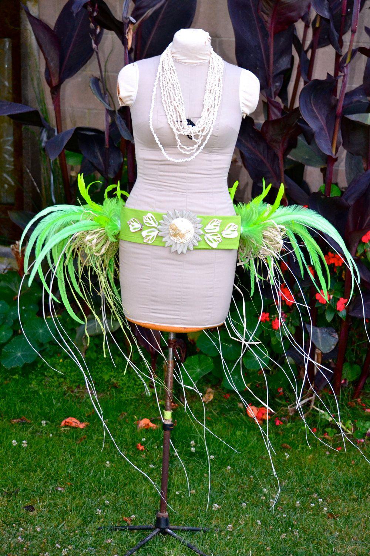 Tahitian Green feather and rafia hip belt by ISLANDMANA on