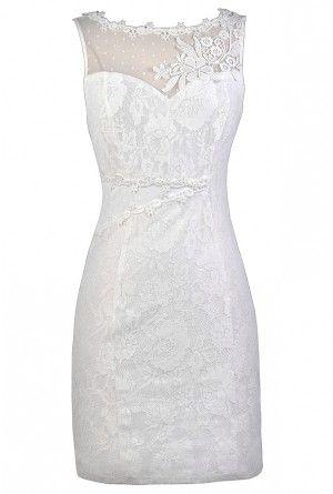 Cute White Dress, White Lace Dress, White Rehearsal Dinner Dress ...
