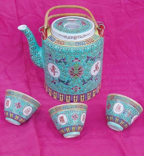 Oriental - CRAZY R1 SALE~STUNNING VINTAGE HAND DECORATED ENAMEL CHINESE TEA POT~PLUS TEA CUPS was sold for R31.00 on 4 Sep at 19:31 by findaz keepaz in Durban (ID:15444154)