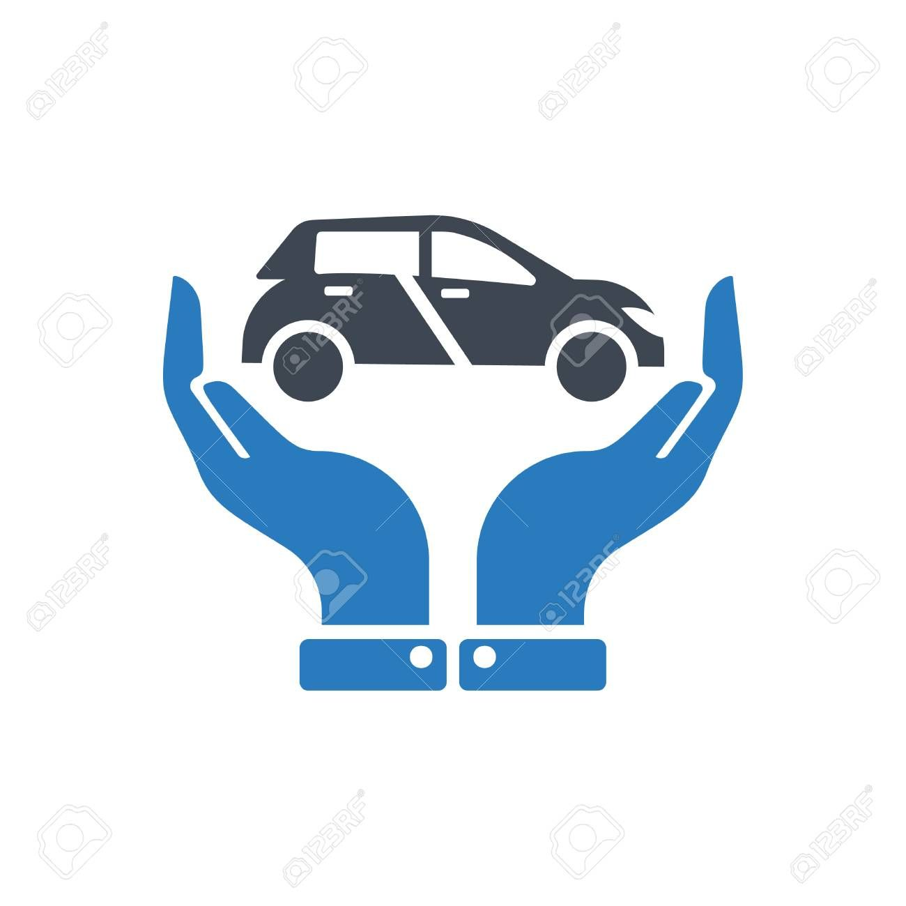 Hands Holding Car Auto Insurance Icon Vector Transport