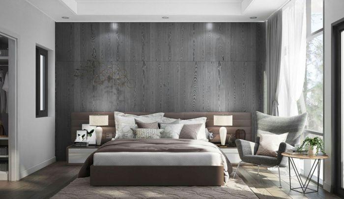 Indirekte Beleuchtung, Graue Wand, Schlafzimmer Farbe, Kleiner Tisch, Graue  Vorhänge