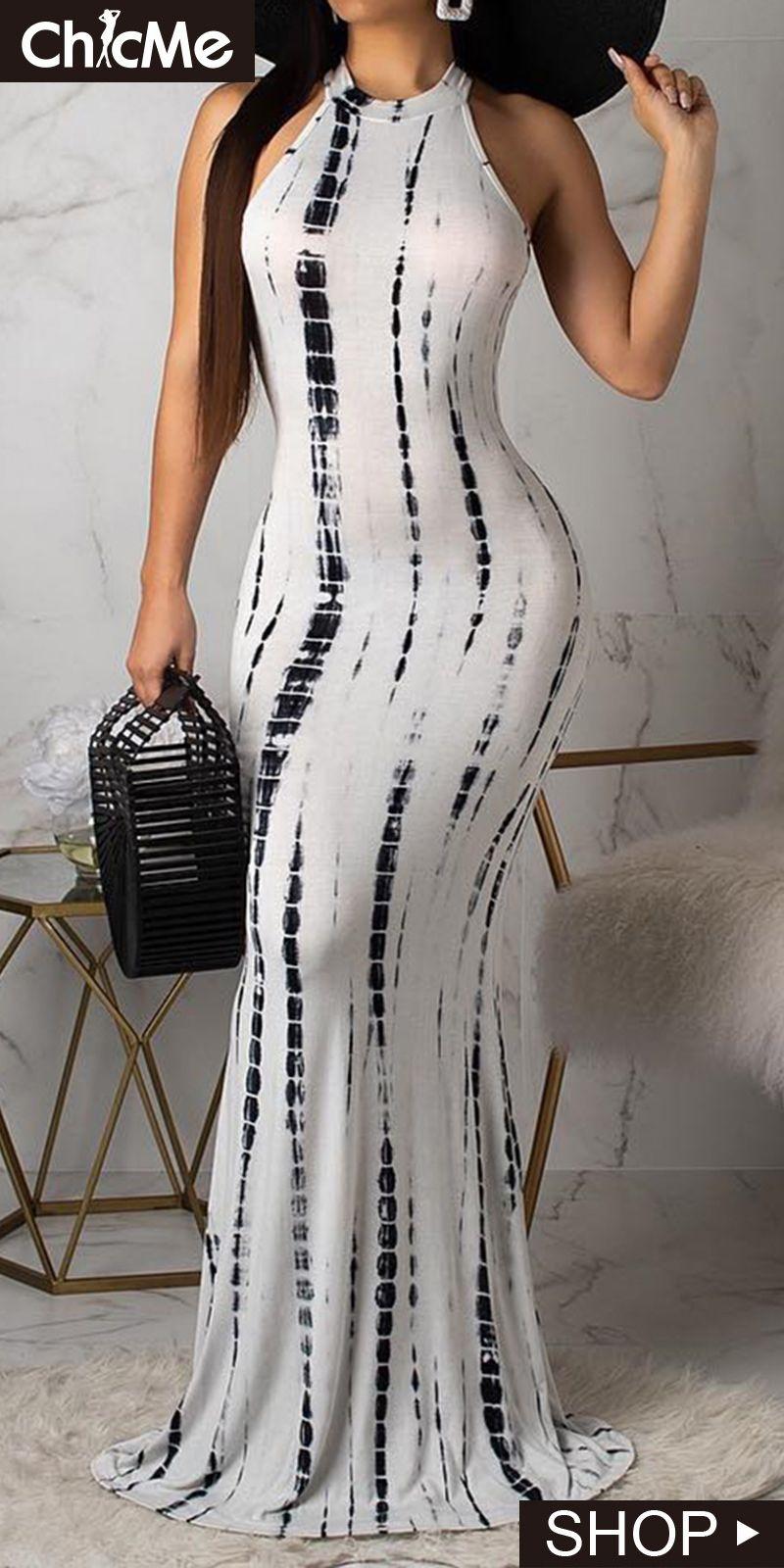 c0ba919e669e6 Tie Dye Print Cutout Back Maxi Dress | Chic Me Dress in 2019 ...