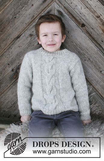 a02405a55 Isak - Knitted children s jumper with cables. Sizes 2 - 12 years. The piece  is worked in DROPS Air. Free knitted pattern DROPS Children 30-13