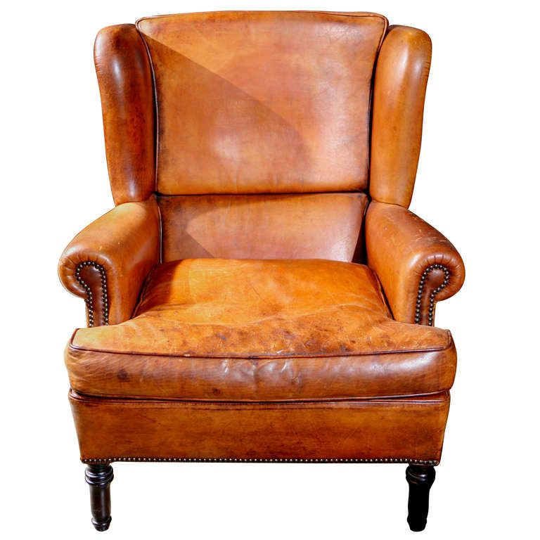 Best English Leather Wing Chair Circa 1900 Leather Wing 400 x 300