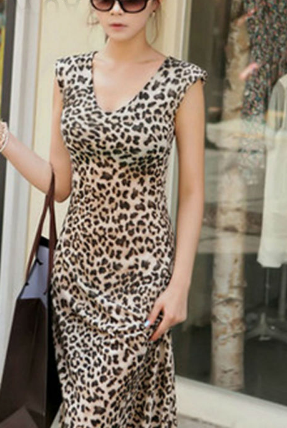 Women Sexy Leopard Dresses Elegant Classical Sleeveless Loose Casual Cotton  Ankle-Length Dress 87288f065